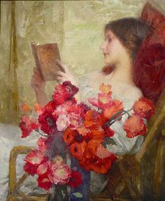 """books0977: """"Young woman reading (1902). Samuel Melton Fisher (British, 1860-1939). Fisher was a painter of portraits, genre and figurative subjects. He was a regular exhibitor at the Royal Academy from 1878 and at the RBA and the Grosvenor Gallery...."""
