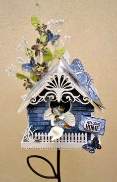 altered birdhouses | Altered bird house by Belinda Spencer using Darkroom Door Background ...