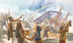 Noé, sua família e os animais fora da arca, depois do Dilúvio