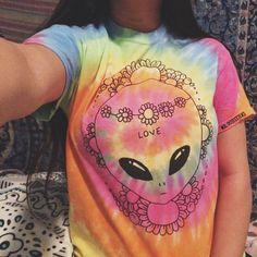 Tie Dye Hippie Alien T-Shirt by MXLoutfitters on Etsy
