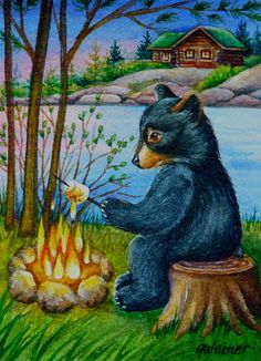 ACEO+Limited+Edition+Watercolor+Print+Black+Bear+Cub+by+jeanweiner