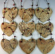 Handmade ceramic heart ornament for Christmas or throughout the year. Show you love nature with this botanical heart ornament. The front of the Christmas Ornaments To Make, Clay Ornaments, Handmade Christmas, Ornaments Ideas, Ceramic Decor, Ceramic Clay, Clay Projects, Clay Crafts, Heart Ornament