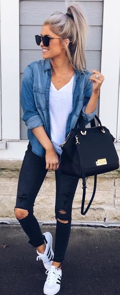 10 Cute Winter Outfits To Copy Now - Outfit Ideen Cute Winter Outfits, Spring Outfits, Cute Winter Clothes, Casual Outfits For Winter, Casual Brunch Outfit, Winter Outfits 2019, Cute Casual Outfits, Casual Jeans, Look Camisa Jeans