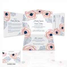 Rose Quartz Blossoms Self Mailer Wedding Invitation   eInvite.com