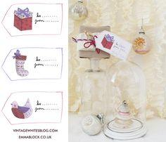 vinatge whites printable gift tags