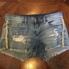 Denim shorts Denim cut up shorts with snake pattern on sides Shorts Jean Shorts