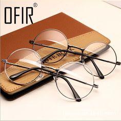 c95a38e668 Eyeglasses Frames Women Vintage Glasses Frame Plain Mirror Big Round Metal Optical  Frame For Girl Eyeglass Clear Lens oculos feminino de grau    AliExpress ...