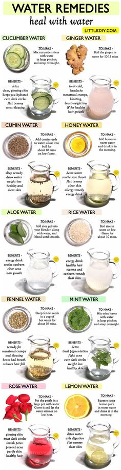 water HEAL WITH WATER – Top 10 amazing WATER REMEDIES One of the best ways to rid of harmful toxins from your body is to drink water. Just 6 to 8 glasses every day will help to keep you hydrated, detox and will give you beautiful skin and hair. Natural Health Remedies, Herbal Remedies, Healthy Drinks, Healthy Tips, Healthy Water, Healthy Herbs, Health And Nutrition, Health And Wellness, Wellness Tips
