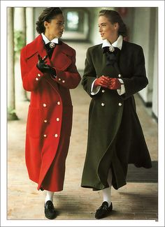 Vogue: September 1989.  Coats look way too big, but the look was classic and timeless.