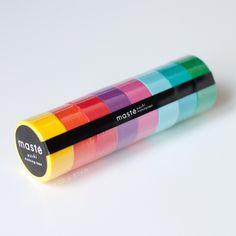 Masté Set of 8 Rolls Washi Tape Set - Bright Colour Mix A