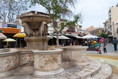 """""""Ta Liontaria"""" The old Venetian fountain in Iraklion, Crete, Greece. Feel so lucky to have seen this. My grandmother mentioned it before my trip. Her parents talked about this fountain to her as a little girl."""