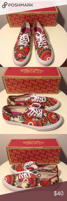 VANS Geo Floral Sneakers Women's Sz 8 -RARE Great pre-owned condition.   Geo printed canvas upper. Vulcanized waffle outsole. Classic Vans lace-up. Vendor style #: VN-0XG6FF6 Geo Floral (Magenta/TrWht).                   Pop art, psychedelic, mod, op art, wild, hippie, boho Vans Shoes Sneakers