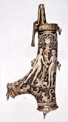 Powder flask (stag-horn, silver-gilt & ivory) German  School,16th century