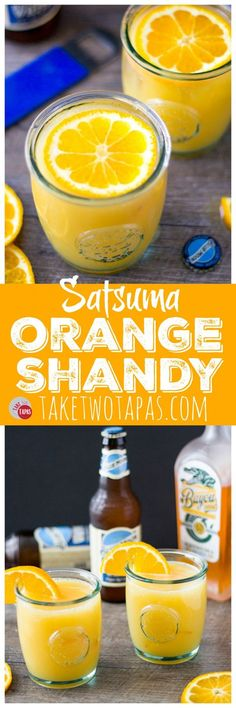 If you are not a beer drinker this shandy cocktail will change your mind! A mix of Satsuma Orange rum liqueur, orange juice, and Blue Moon beer make the perfect orange shandy for breakfast or after dinner! Satsuma Orange Shandy Cocktail Recipe   Take Two Tapas