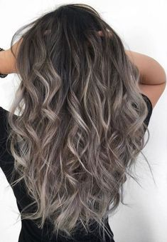 Stylish Hair Color Ideas In This Year Ash Gray Hair Color, Brown Hair Colors, How To Dye Brown Hair Grey, Grey Hair Colors, Brown To Grey Ombre, Ash Ombre, Grey Ombre Hair, Balayage Hair Grey, Bayalage