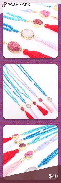 """Mixed Sacred Druzy Tassel Necklaces! ✨Beautiful Mixed Sacred Druzy Tassel Necklaces! I have 4 Necklaces total! 2 Blue Agate Beads w/White Druzy Stone & White Tassel & 2 Light Blue Agate Beads w/Red Druzy Stone & Red Tassel! 17"""" Length Bead Chain. 24k Gold Plated Around The Druzy Stone!! (Druzy - glittering effect of crystals over top of agate or other colorful mineral). (Agate's healing stones balance a calming energy to ease anxiety, provide courage, strength & hope).Please specify which…"""