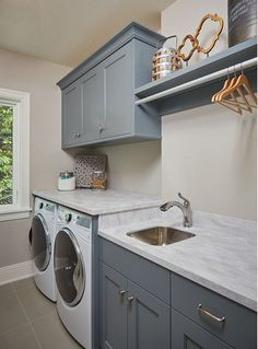 Laundry Room Cabinets L L Shaped Laundry Room Design That Functional And Cozy . Shelving For Laundry Room Ideas - HomesFeed. Home and Family Grey Laundry Rooms, Farmhouse Laundry Room, Laundry Room Design, Laundry Room With Sink, Vintage Laundry Rooms, Laundry Sinks, Ikea Laundry, Laundry Room Colors, Laundry Drying