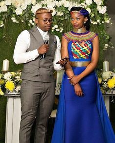 Image may contain: 2 people, people standing African Wedding Attire, African Attire, African Wear, African Women, African Weddings, African Print Dresses, African Fashion Dresses, African Dress, South African Traditional Dresses
