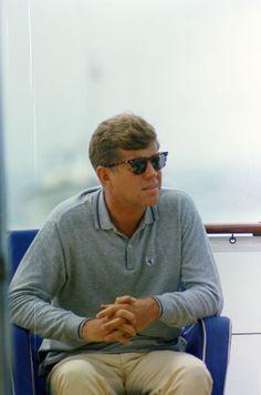 President John F. Kennedy aboard the Honey Fitz, in Hyannis...