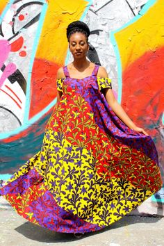 African Ankara Print Maxi Dress
