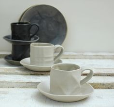 black and white textured espresso cups by lauriegceramics