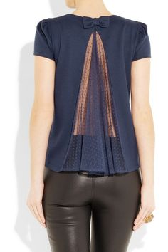 Cotton jersey and tulle top, Red Valentino