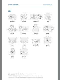 Kopieringsunderlag från www.nok.se/tecken Sign Language Words, Swedish Language, Pre School, Fun Facts, Kindergarten, Just For You, Teacher, Education, Communication