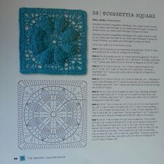Poinsettia Square - from The Granny Square Book by Margaret Hubert #crochetmoodblanket2014 granny square crochet pattern