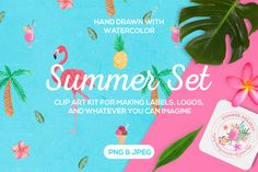 Posted by @newkoko2020 Tropical Summer Clip Art Set by SoNice on @creativemarket
