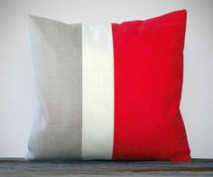 Color Block Pillow in Poppy Red, Cream and Natural Linen by JillianReneDecor (20x20) #red #pillow