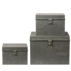 Coffre de rangement en zinc (par 3) Guillaume Bloomingville