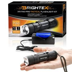 BRIGHTEX XR-700 Pro Kit REAL UL Lab Tested 700 Lumens Super Bright Small Tactical Flashlight XM-L2 U2 LED, Water Resistant, 5 Modes, Zoom, Belt Clip, Fast Charger, 4800mAh 26650 Protected Battery * This is an Amazon Affiliate link. Click on the image for additional details.