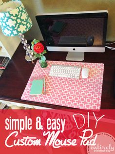 Super quick and easy way to create a custom desk pad. just need spray adhesive (or mode podge), clear desk pad, and wrapping paper. Do It Yourself Quotes, Do It Yourself Baby, Cute Crafts, Crafts To Do, Diy Crafts, Diy Hacks, Ikea Hacks, Diy Projects To Try, Craft Projects