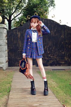 2015 new preppy style fashion plaid double breasted badges embroidery slim women jacket jk uniforms japan…