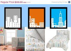 City Skyline Nursery Wall Art 3 Piece for Toddler by LittlePergola, $19.80