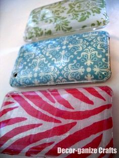 DIY iphone case, mod podge fabric or paper to the inside of a clear case