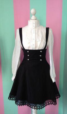 Gothic Lolita pinafore dress Gothic Lolita pinafore dress by MademoiselleOpossum on Etsy, Moda Lolita, Lolita Mode, Lolita Style, Moda Steampunk, Steampunk Fashion, Gothic Steampunk, Victorian Gothic, Steampunk House, Lolita Fashion