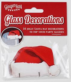 Ginger Ray Fun Christmas Glass Decorations / Card Santa Hats - Table Decorations X 10 - Great for a ...