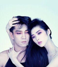 Ryuichi Sakamoto and model Rena Anju,1983, photo by Yokogi Alao.