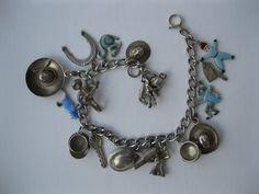 Vintage Sterling WWII Sweetheart Blue Enamel Charm Bracelet
