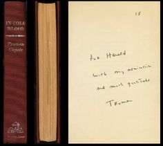 1st edition of 'In Cold Blood,' inscribed to Nye
