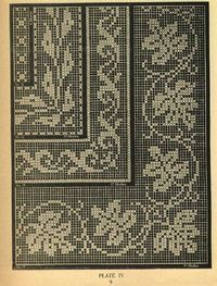 Beautiful thread filet crochet. Would make a great tablecloth just crochet from right to left & left to right according to chart.