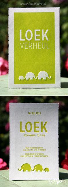 letterpers_letterpress_geboortekaartje_Loek_oker-geel_olifantjes_oudhollands