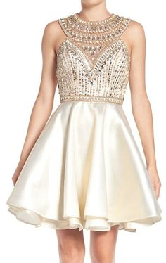 MACloth Straps Crystals Satin Mini Prom Dress Ivory Homecoming Formal Gown
