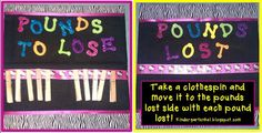 weight loss bulletin board.  Pounds to lose/pounds lost with clothespins.  So cool!