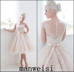 Short Knee Length Satin Bridal Gown White/Ivory/Blush Appliques Wedding Dress
