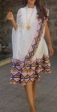 Ethiopian Traditional Dress, Traditional Dresses, Habesha Kemis, Ethiopian Wedding, Ethiopian Dress, Culture Clothing, Baptism Outfit, How To Make Clothes, African Print Fashion