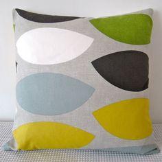 Geometric retro green yellow, duck-egg blue, grey and white cushion Cover, contemporary designer fabric slip cover, throw pillow. $25.00, via Etsy.