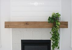 The easiest DIY wood mantel ever! I'm not a pro, but this mantel looks so good! Come join me for a fun tutorial and inexpensive project! Diy Fireplace Mantel, Wood Mantels, Shiplap Fireplace, Fireplace Remodel, Fireplace Ideas, Wood Projects For Beginners, Diy Wood Projects, Diy Simple, Easy Diy