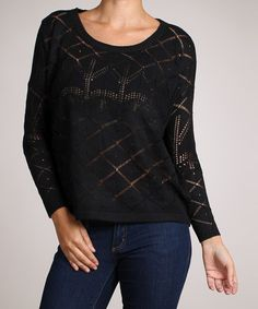 Take a look at this Black Sheer Crisscross Sweater by Timing on #zulily today!